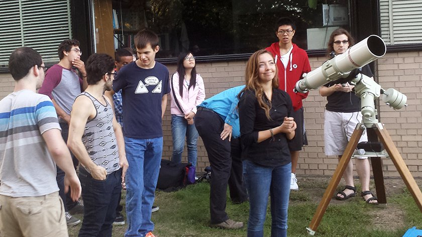 IIT Society of Physics students, as well as students in the Observational Astrophysics class taught by physics professors Jeff Terry and Sally Laurent-Muehleisen, learned to use a Takahashi TOA-130 refracting telescope and EM-200 German Equatorial mount. They observed a lunar eclipse using this telescope and mount.