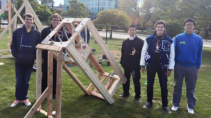 The IIT Society of Physics Students (SPS) team won first place in accuracy at Illinois Tech's fall 2015 Pumpkin Launch.