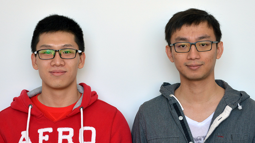 Master of Applied Mathematics students Yanlong Wang and Xiao Xu